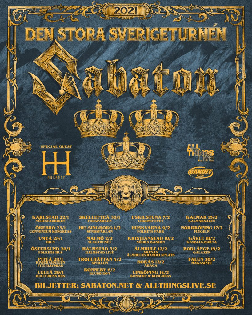 Best New Metal Bands 2021 SABATON announce their biggest ever Sweden tour for 2021   RnB News